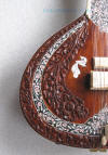 Fully carved tabli on studio electric sitar from Miraj